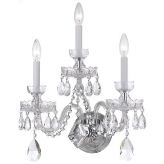 Crystorama Traditional Crystal Collection 3-light Polished Chrome/Swarovski Strass Crystal Wall Sconce