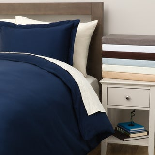 Hemstitch 400 Thread Count Solid Cotton 3-piece Duvet Cover Set (As Is Item)