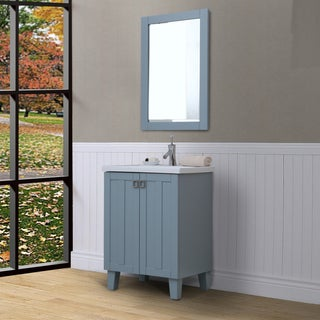 24-inch Extra Thick Ceramic Sink-top Single Sink Grey Blue Finish Bathroom Vanity with Framed Wall Mirror