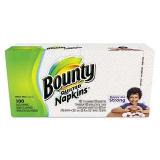 Bounty Quilted Napkins 1-Ply 12.1 x 12 White 100/Pack 20 Packs per Carton