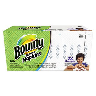 Bounty Quilted Napkins 1-Ply 12 1/10 x 12 White 200/Pack 12 Packs per Carton