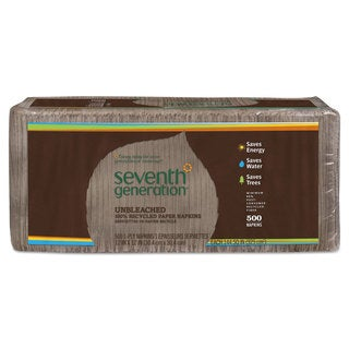 Seventh Generation 100-percent Recycled Napkins 1-Ply 12 x 12 Unbleached 500/Pack 12 Packs/Carton