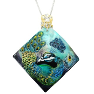 "One-of-a-kind Michael Valitutti ""Peacock"" Square Hand-Painted Mother-of-Pearl Shell and Marquise White Topaz Pendant"