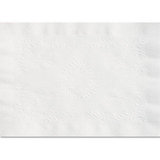 Hoffmaster Anniversary Embossed Scalloped Edge Tray Mat 14 x 19 White 1000/Carton