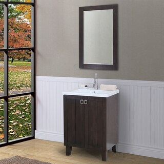 24-inch Extra Thick Ceramic Top Single-sink Brown Bathroom Vanity with Framed Wall Mirror