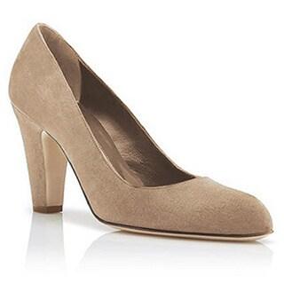 Manolo Blahnik Alecta Beige Suede Cone Heel Shoe