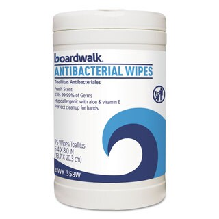 Boardwalk Antibacterial Wipes 8 x 5 2/5 Fresh Scent 75/Canister 6 Canisters/Carton