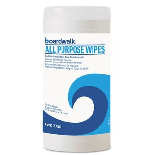 Boardwalk Natural Multi-Purpose Hydrogen Peroxide Wipes 7x8 Unscented 75/Canister 6/Carton