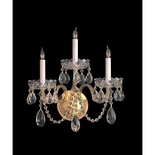 Crystorama Traditional Crystal Collection 3-light Polished Brass/Swarovski Spectra Crystal Wall Sconce