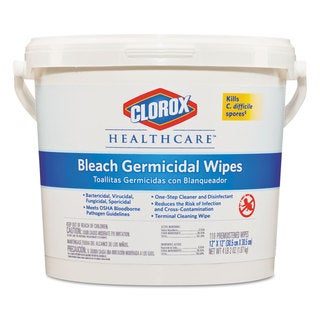 Clorox Healthcare Bleach Germicidal Wipes 12 x 12 Unscented 110/Canister