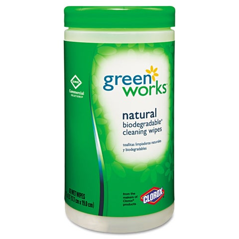 Green Works Compostable Cleaning Wipes 7 x 7 1/2 Original Scent 62/Canister 6/Carton