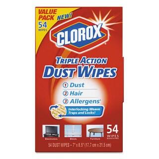 Clorox Triple Action Dust Wipes White 7 x 8 1/2 54/Box 5 Box/Carton