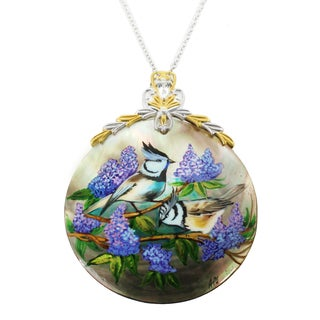 "One-of-a-kind Michael Valitutti ""Paradise Birds"" Hand-Painted Mother-of-Pearl Shell and Pear White Topaz Pendant"
