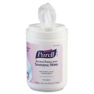 PURELL Premoistened Sanitizing Wipes Alcohol Formulation 6 x 7 White 175/Canister
