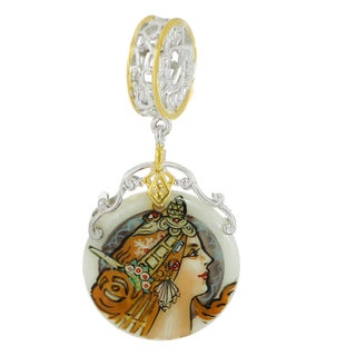 """One-of-a-kind Michael Valitutti """"Mucha Warrior"""" Hand-Painted Mother-of-Pearl Shell Charm"""