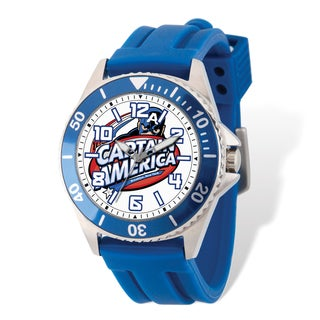 Marvel Stainless Steel Men's Captain America Blue Band Watch