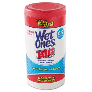 Wet Ones Wet Ones Big Ones Antibacterial Wipes 4 1/2 inches x 8 inches White 65 Wipes 6 Boxes/Carton