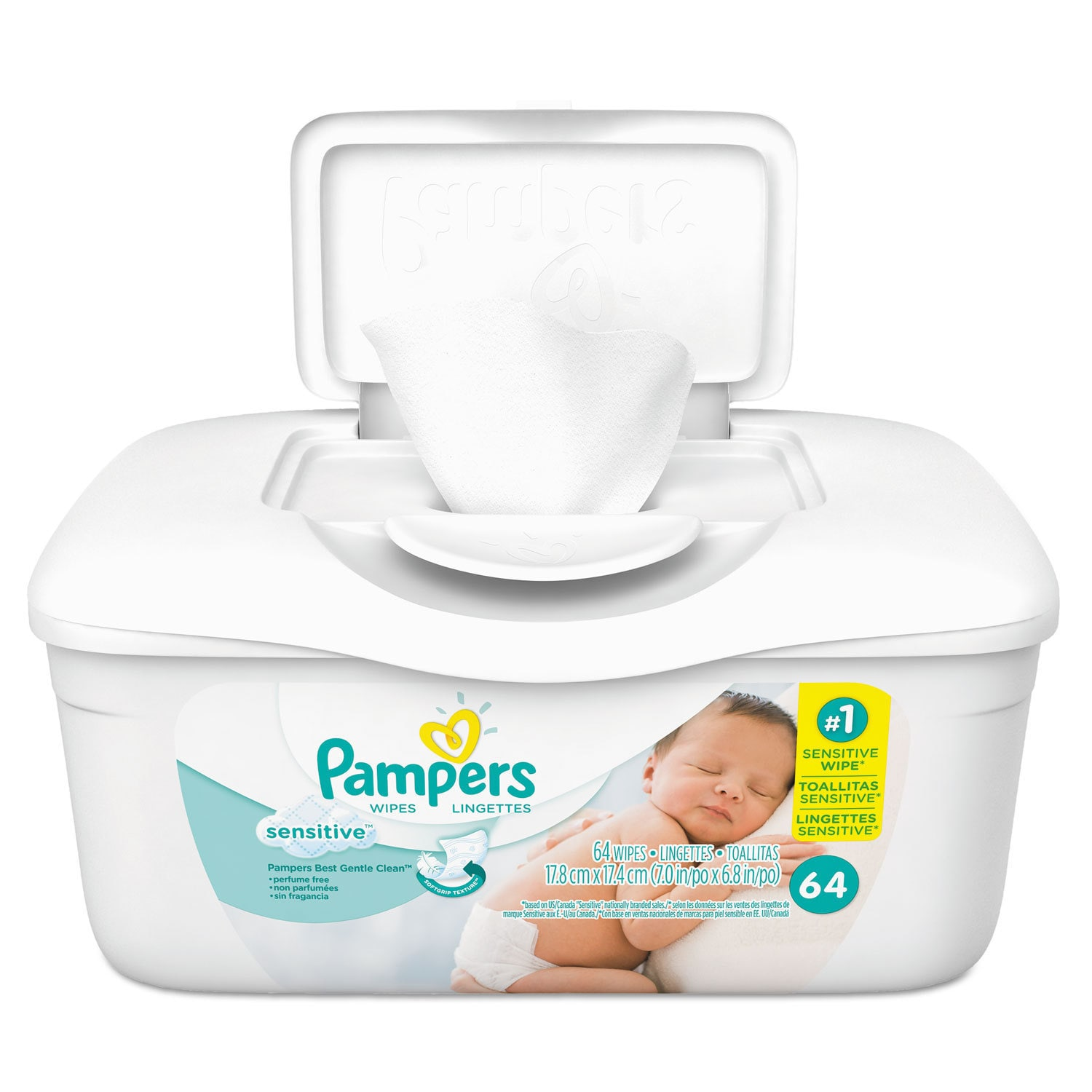 Pampers Sensitive Baby Wipes White Cotton Unscented 64/Tub 8 Tub/Carton (White)