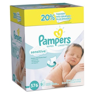 Pampers Sensitive Baby Wipes White Cotton Unscented 64/Pack 9 Pack/Carton
