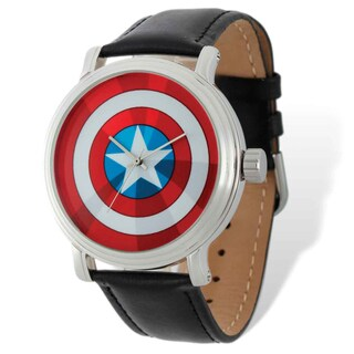 Marvel Stainless Steel Men's Captain America Black Leather Band Watch