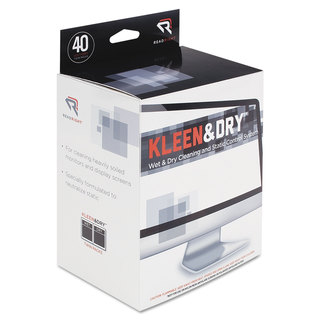 Read Right Two Step Screen Kleen Wet and Dry Cleaning Wipes 5 x 5 40/Box