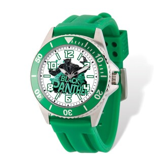 Marvel Stainless Steel Men's Black Panther Green Band Watch