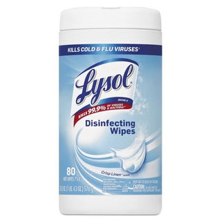 LYSOL Brand Disinfecting Wipes Crisp Linen Scent 7 x 8 80/Canister 6 Canister/Carton