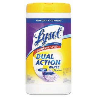 LYSOL Brand Dual Action Disinfecting Wipes Citrus 7 x 8 75/Canister 6/Carton