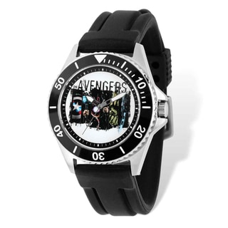 Marvel Stainless Steel Men's Avengers Black Strap White Dial Watch