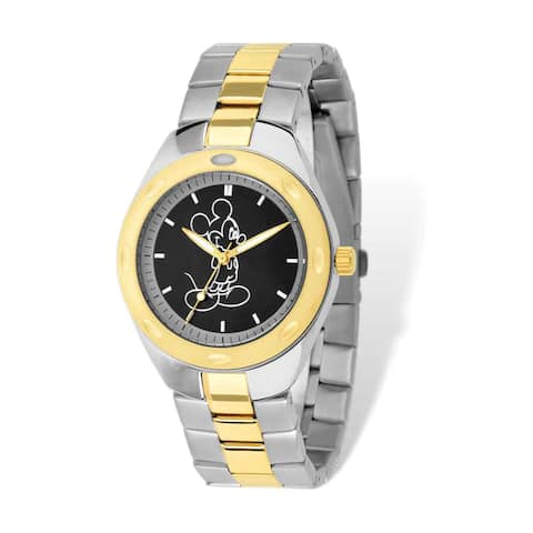 Disney Stainless Steel Men's Mickey Mouse Two-tone Black Dial Watch