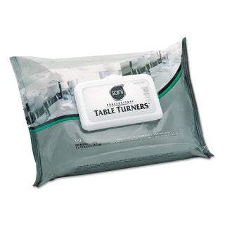 Sani Professional Table Turner Wet Wipes 7 x 11 1/2 White 80 Wipes/Pack 12 Packs/Carton