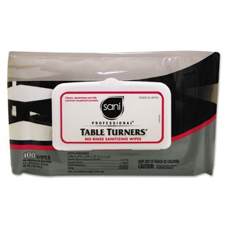 Sani Professional Table Turners No-Rinse Sanitizing Wipes 8.2 x 9.8 White