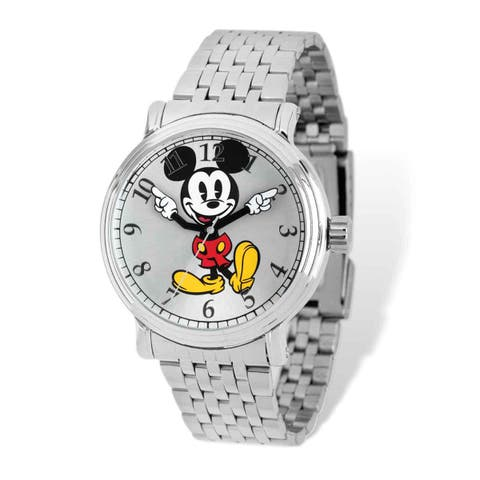 Disney Men's Stainless Steel Mickey Mouse Silver Dial Watch