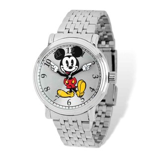 Disney Stainless Steel Men's Mickey Mouse Silver Dial Watch