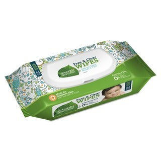 Seventh Generation Free and Clear Baby Wipes Unscented White 64/Pack 12 Pack/Carton