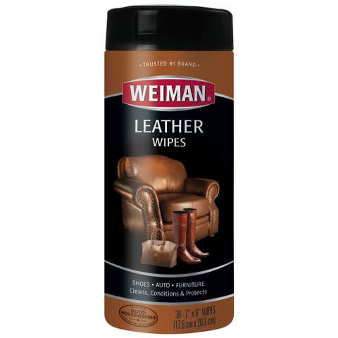 WEIMAN Leather Wipes 7 x 8 30/Canister 4 Canisters/Carton