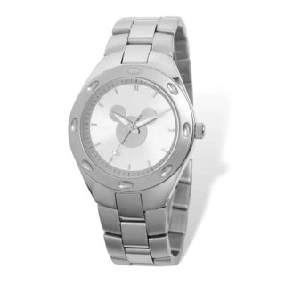 Disney Men's Stainless Steel Mickey Mouse Silhouette Silver Dial Watch