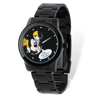 Disney Men's Stainless Steel Mickey Mouse Black IP-plated Watch