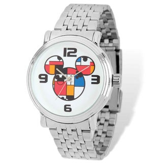 Disney Stainless Steel Men's Colorblock Mickey Silver-tone Watch