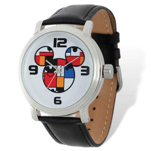 Disney Stainless Steel Men's Colorblock Mickey Black Leather Watch