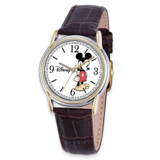 Disney Stainless Steel Men's Strap Mickey Mouse Brown Leather Watch