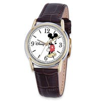 Disney Men's Stainless Steel Strap Mickey Mouse Brown Leather Watch