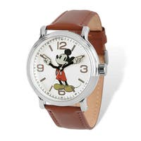 Disney Men's Stainless Steel Mickey Mouse Brown Leather Watch