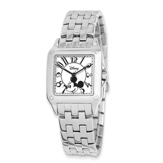 Disney Stainless Steel Adult Size Alloy Men's Square Mickey Mouse Watch - Silver