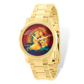 Disney Stainless Steel Men's Lion King Mufasa/Simba Gold-tone Watch