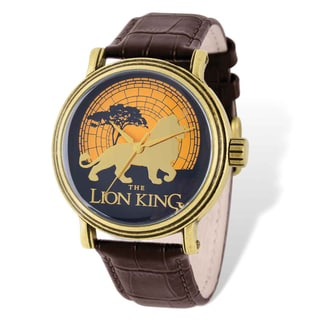 Disney Stainless Steel Men's Lion King Brown Leather Gold-tone Watch