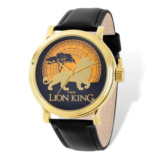 Disney Stainless Steel Men's Lion King Black Leather Gold-tone Watch