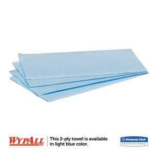 WypAll L10 Windshield Wipers 9 3/10 x 10 1/2 Light Blue 140/Pack 16 Packs/Carton