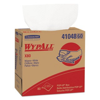 WypAll X80 Wipers 9 1/10 x 16 4/5 White 80/POP-UP Box 5 Boxes/Carton