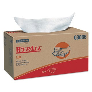 WypAll L30 Wipers 10 x 9 4/5 White 120/POP-UP Box 10 Boxes/Carton